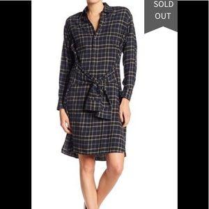 Vince multi plaid tie front flannel dress M